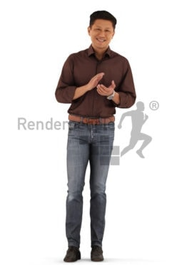 3d people event, asian 3d man standing and clapping