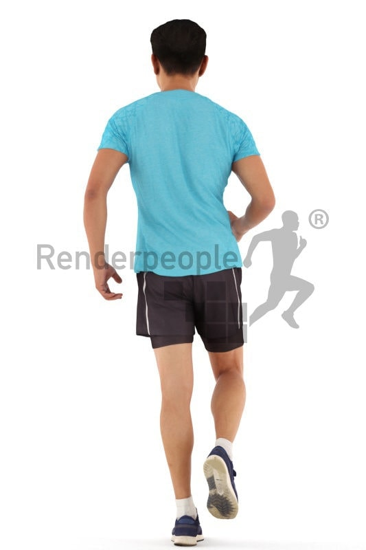 3d people sports, asian 3d man standing and clapping