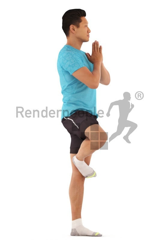 3d people sports, asian 3d man doing yoga