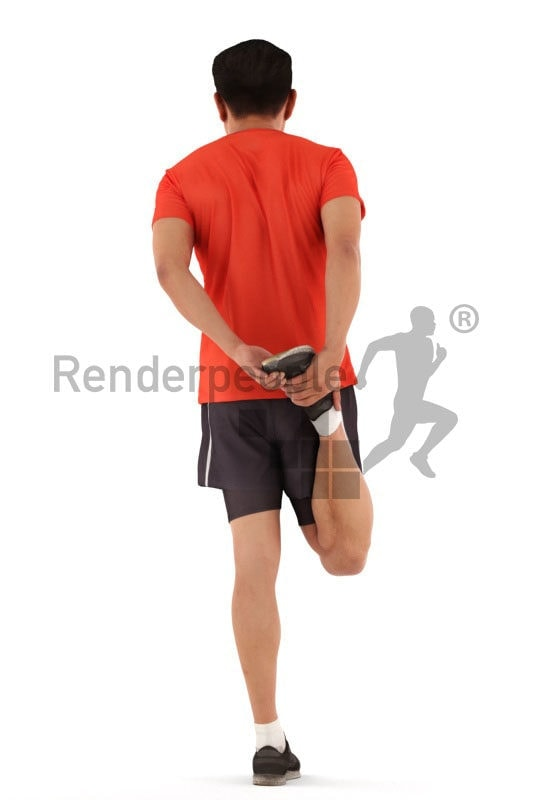 3d people sports, asian 3d man stretching