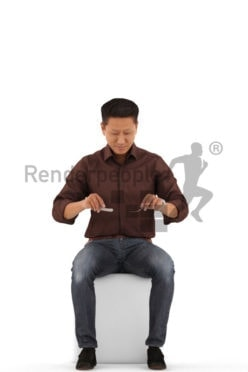 3d people casual, asian 3d man sitting and eating