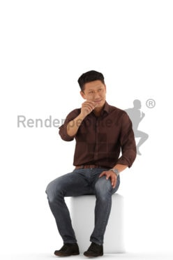 3d people event, asian 3d man sitting and talking