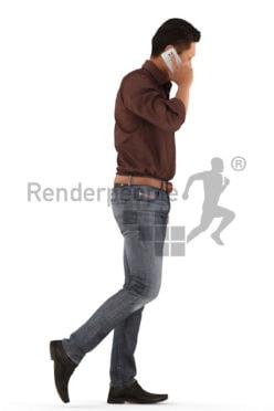 3d people casual, asian 3d man walking