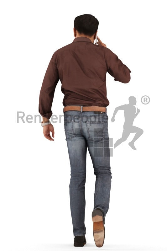 3d people casual, asian 3d man walking and calling someone