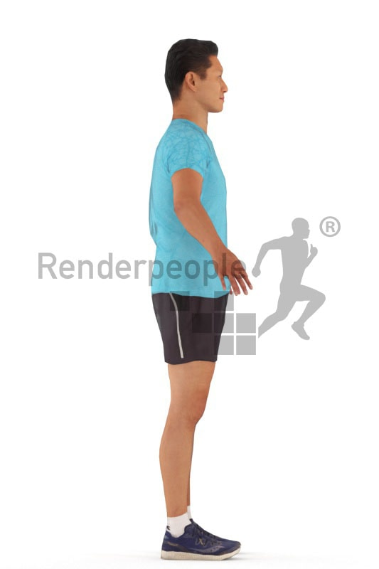 3d people sports, rigged asian man in A Pose