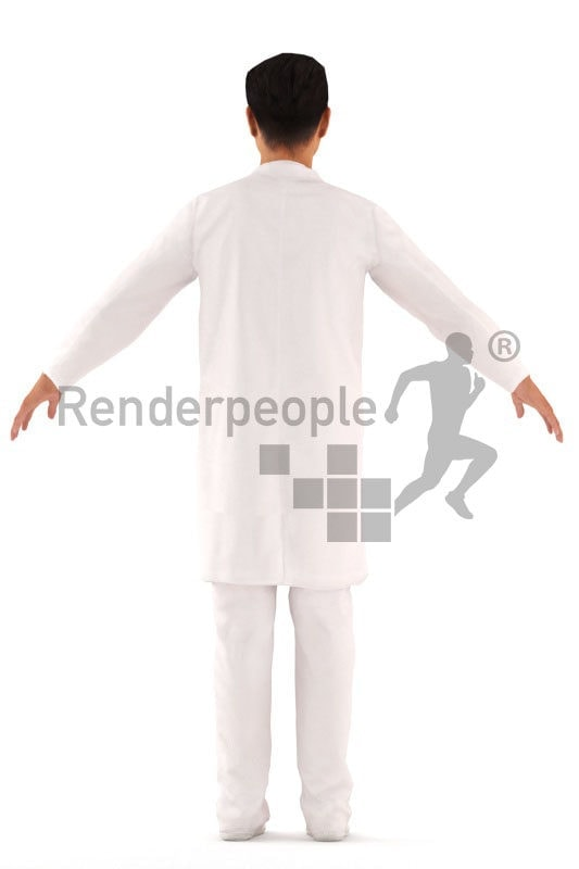3d people healthcare, asian rigged man in A Pose