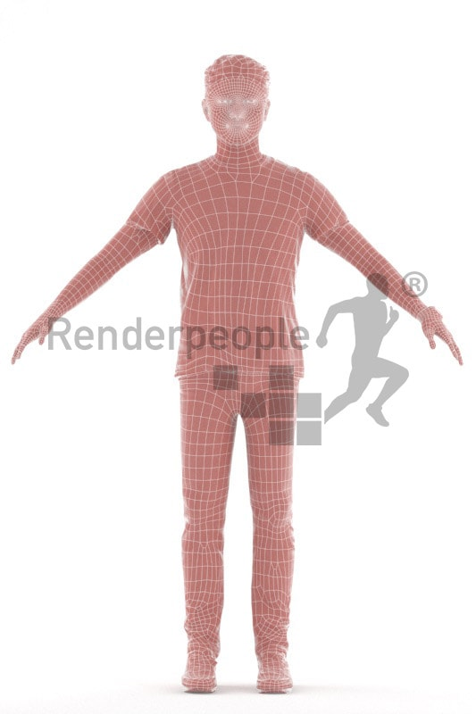 3d people casual, rigged young asian man in A Pose