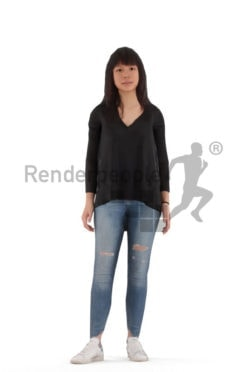 3d people casual, animated woman standing and idling