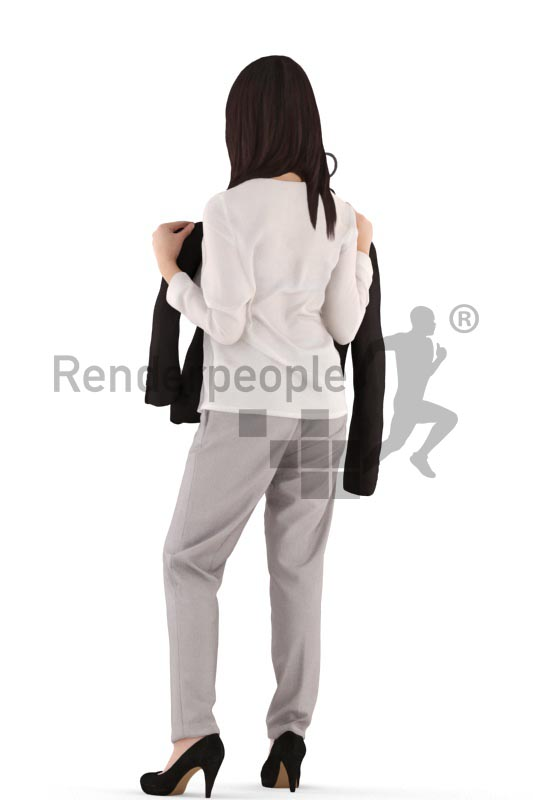 3d people casual, asian 3d woman standing holding a jacket up