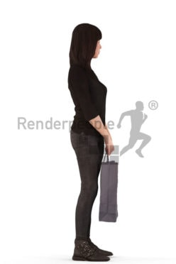 3d people casual, asian 3d woman standing holding a bag