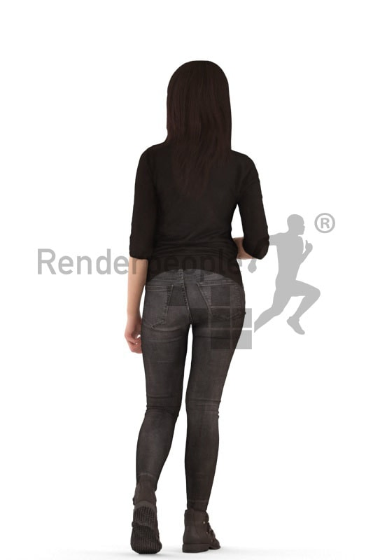 3d people casual, asian 3d woman walking drinking coffee