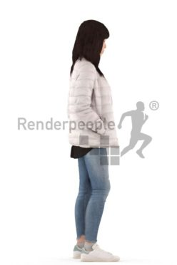 3d people casual, asian 3d woman standing