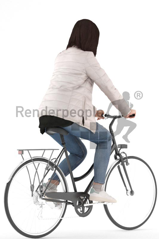 3d people casual, asian 3d woman biking