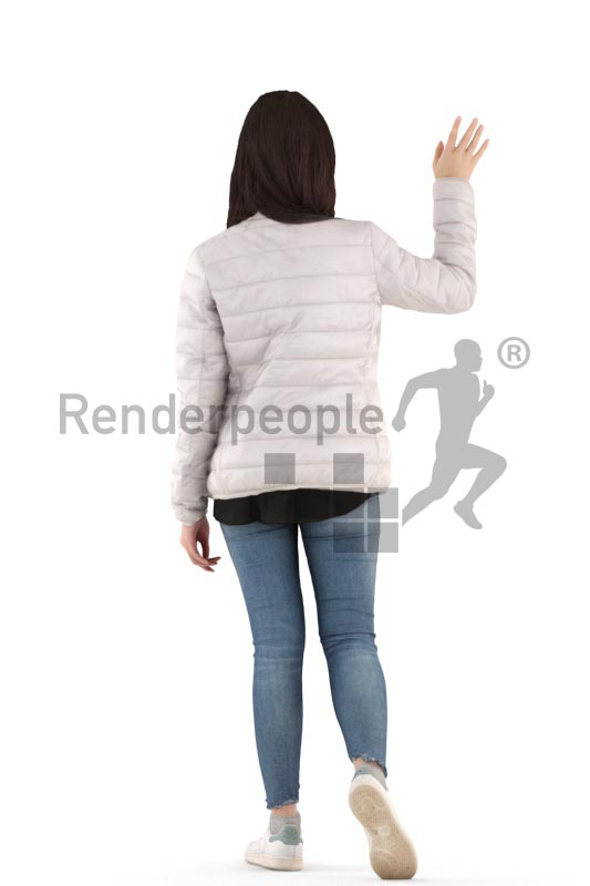 3d people casual, asian 3d woman walking and waving
