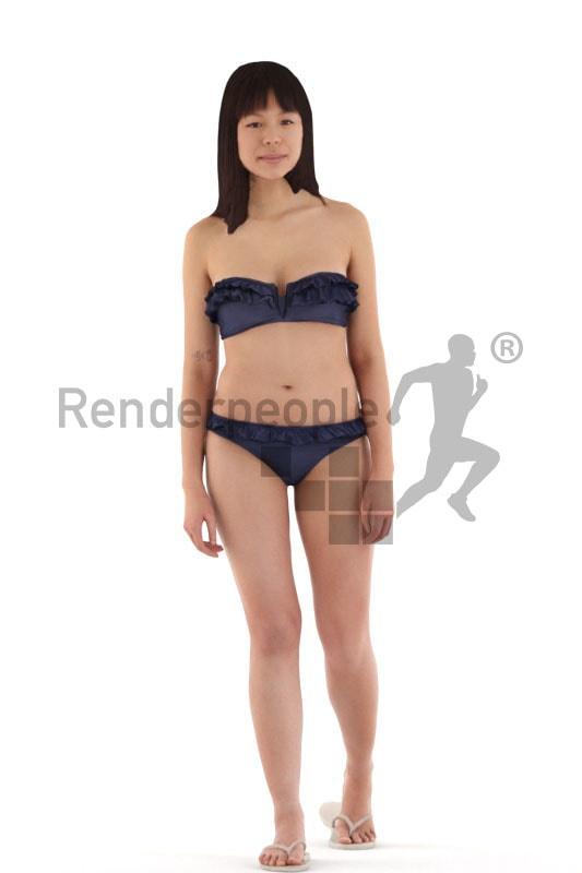3d people beach, asian 3d woman walking