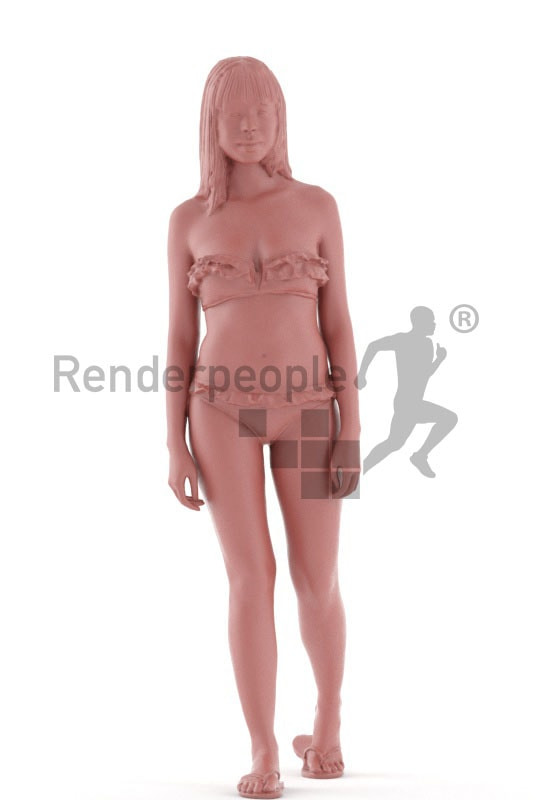 3d people beach, asian 3d woman walking