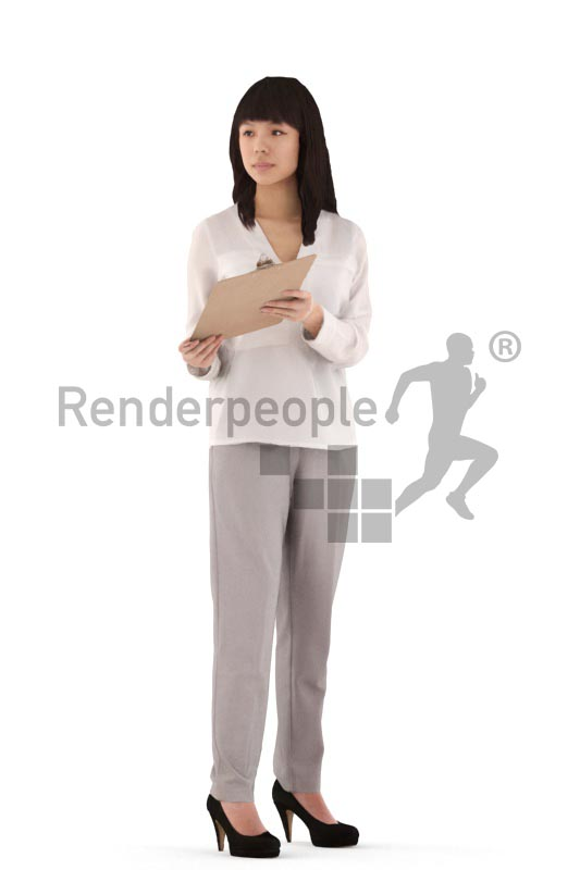 3d people business, asian 3d woman standing holding a clipboard