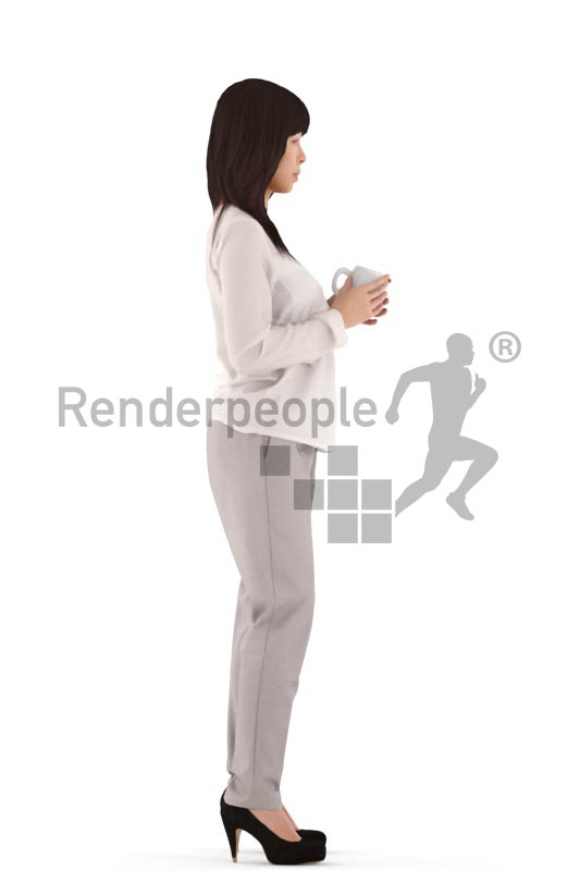 3d people business, asian 3d woman standing with a cup