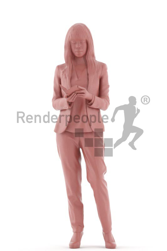 3d people business, asian 3d woman standing with her mobile phone