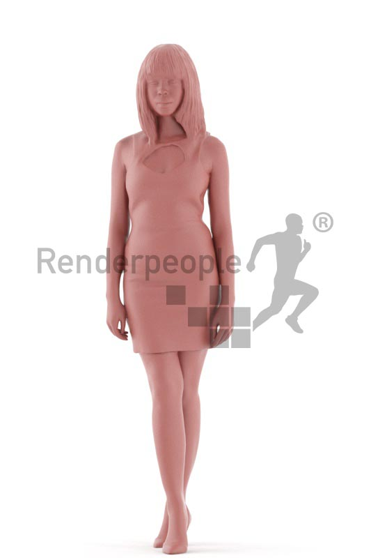 3d people evening, asian 3d woman standing