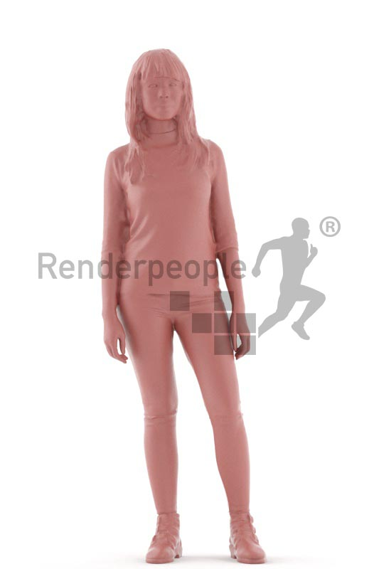 3d people casual, asian 3d woman standing and waiting