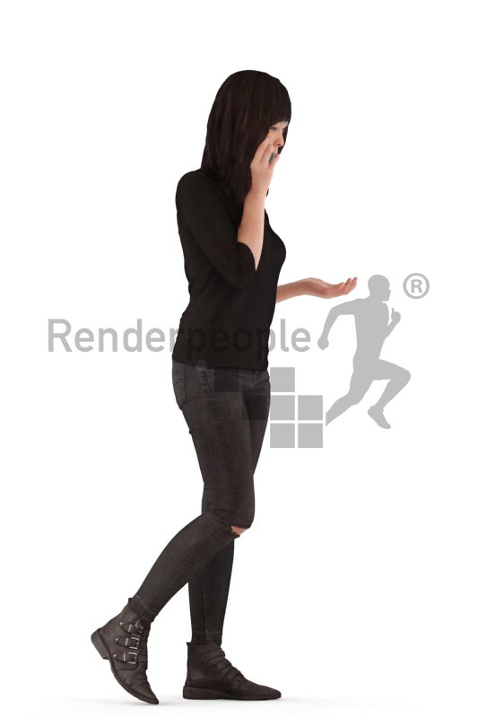 3d people casual, asian 3d woman walking and calling
