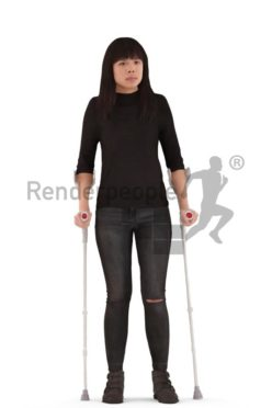 3d people casual, asian 3d woman walking on crutches