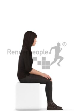 3d people casual, asian 3d woman sitting