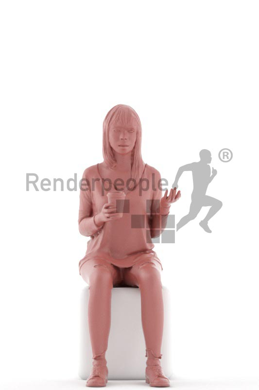 3d people casual, asian 3d woman sitting,drinking coffee and talking