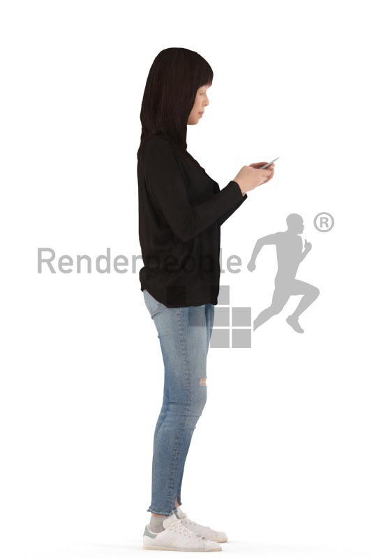 3d people casual, asian 3d woman standing and texting
