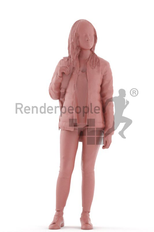 3d people casual, asian 3d woman standing with a bagpack