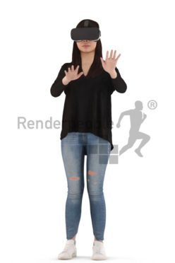 3d people casual, asian 3d woman standing with vr goggles