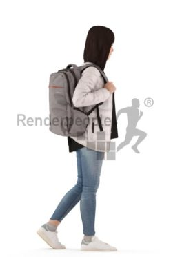 3d people casual, asian 3d woman walking with a bagpack