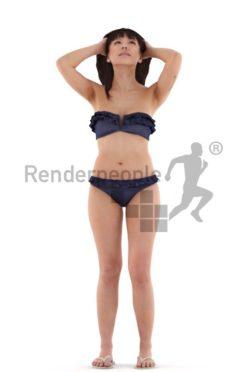 3d people beach, asian 3d woman standing,