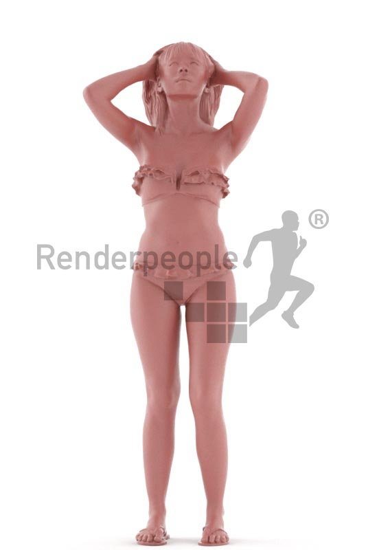 3d people beach, asian 3d woman standing,