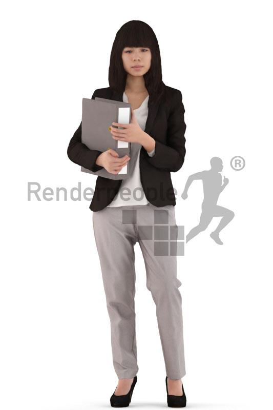 3d people business, asian 3d woman standing holding a folder