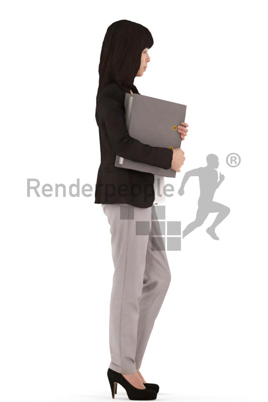 3d people business, asian 3d woman standing holding a folder
