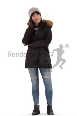 3d people outdoor, asian 3d woman standing and calling