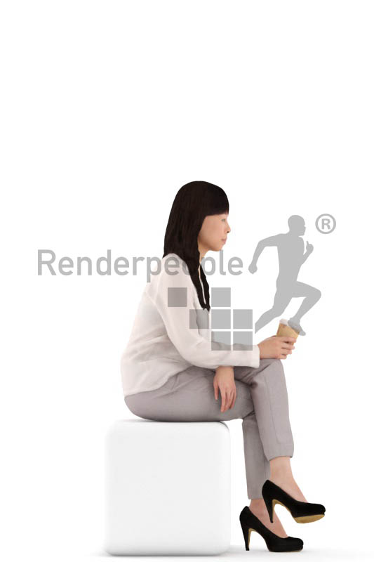 3d people casual, asian 3d woman sitting,drinking coffee