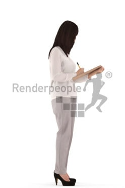 3d people casual, asian 3d woman standing writing on a clipboard