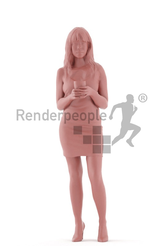 3d people event, asian 3d woman standing with a cup