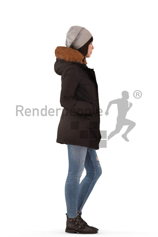 3d people outdoor, asian 3d woman standing with her hands in the pockets