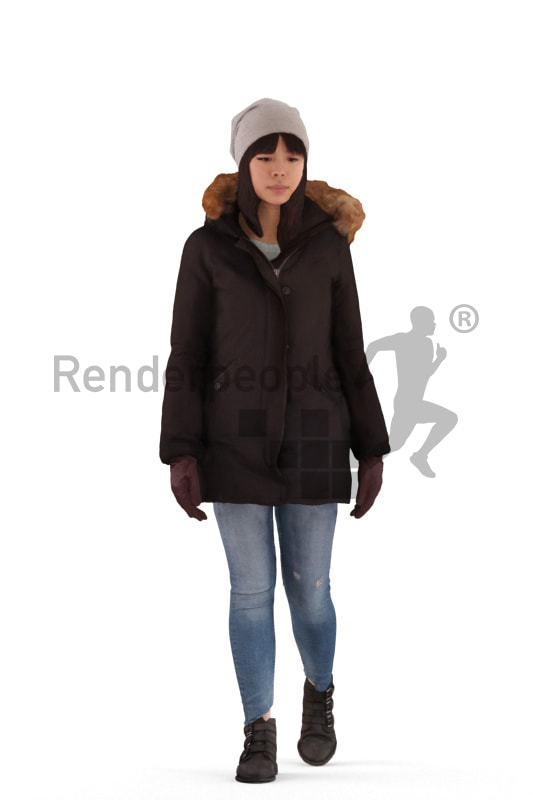 3d people outdoor, asian 3d woman walking