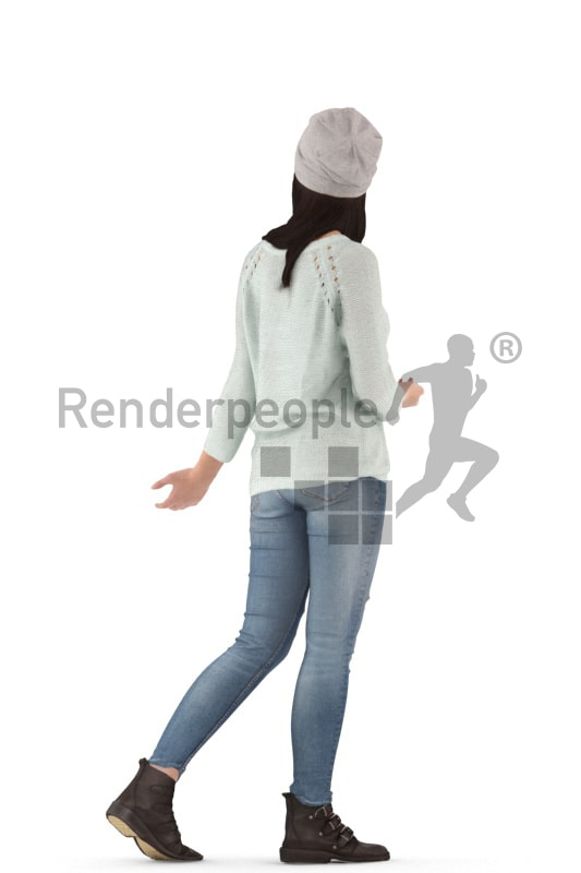 3d people casual, asian 3d woman walking
