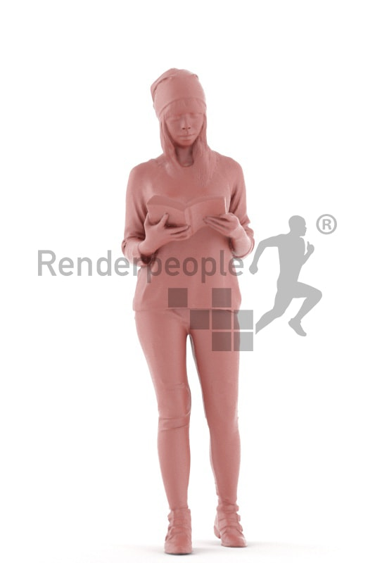 3d people casual, asian 3d woman standing reading a book