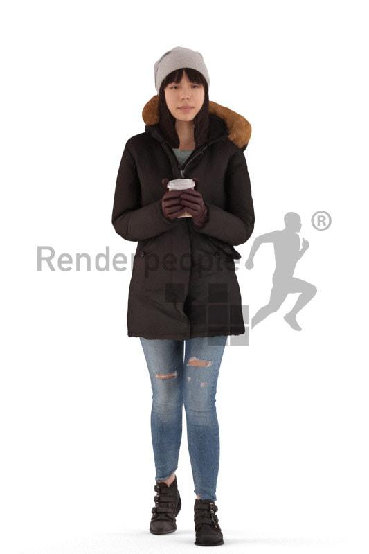 3d people outdoor, asian 3d woman walking