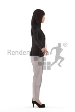 3d people business, rigged asian woman in A Pose