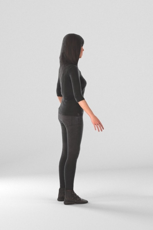 3d people casual, rigged asian woman in A Pose