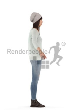 3d people casual, asian rigged woman in A Pose