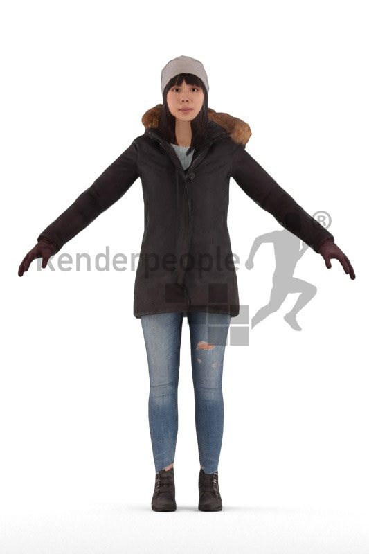 3d people outdoor, rigged asian woman in A Pose